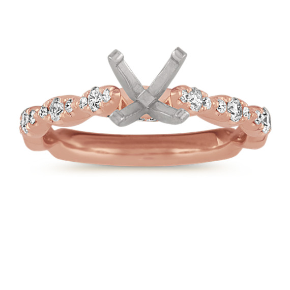Cathedral Diamond Engagement Ring in 14k Rose Gold