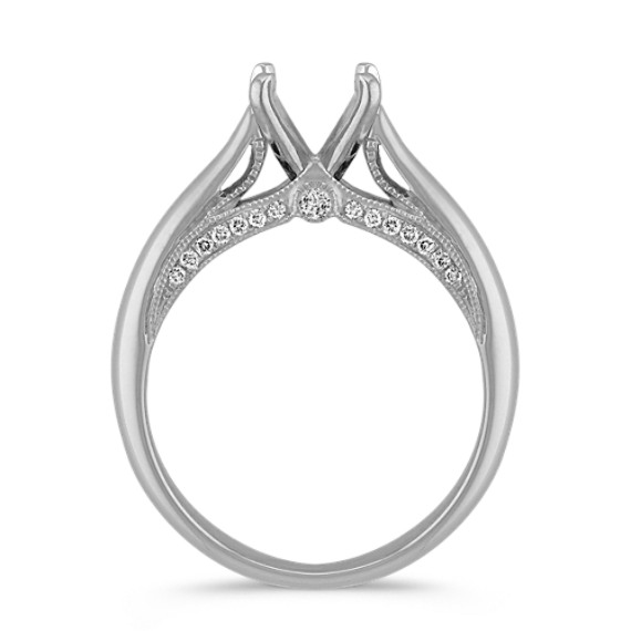 Cathedral Round Diamond Engagement Ring in 14k White Gold image