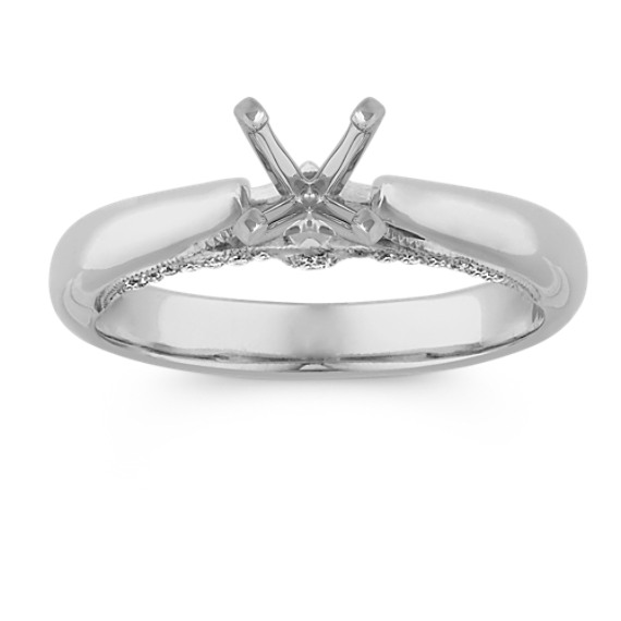 Cathedral Round Diamond Engagement Ring in 14k White Gold