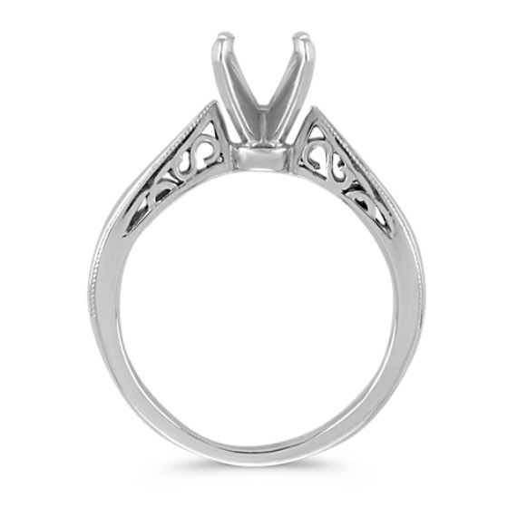 Cathedral Solitaire 14k White Gold Engagement Ring image
