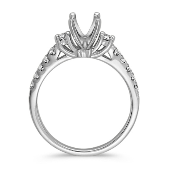 Cathedral Three-Stone Round Diamond Engagement Ring image