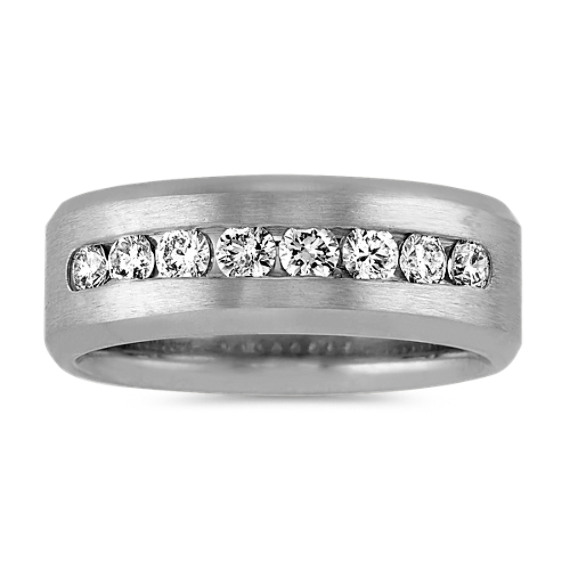 Channel-Set Diamond Mens Band in Platinum (8mm)