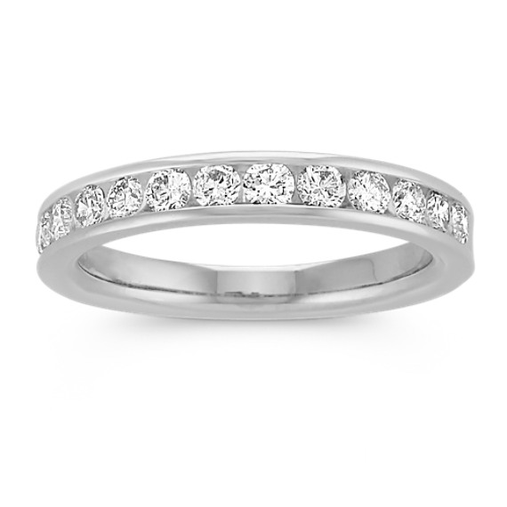 Channel-Set Diamond Platinum Wedding Band