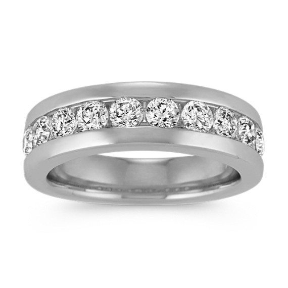 Channel-Set Diamond Ring in 14k White Gold (7mm)