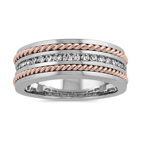 Channel-Set Diamond Ring in 14k White and Rose Gold (8mm)