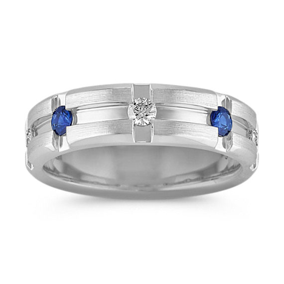 Channel-Set Diamond and Sapphire Ring (7mm)