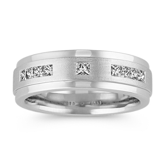 Channel-Set Princess Cut Mens Ring in 14k White Gold (7mm)