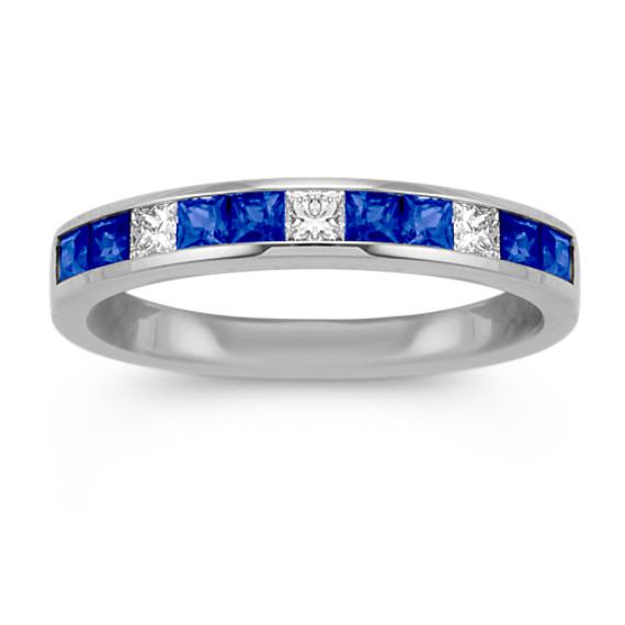 Channel-Set Princess Cut Sapphire and Diamond Wedding Band