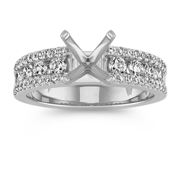 Channel-Set Round Diamond Classic Engagement Ring in 14k White Gold