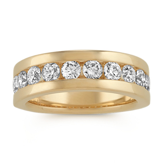 Channel-Set Round Diamond Mens Band (7.5mm)