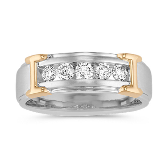 Channel-Set Round Diamond Mens Band in 14k Two-Tone Gold (7mm)