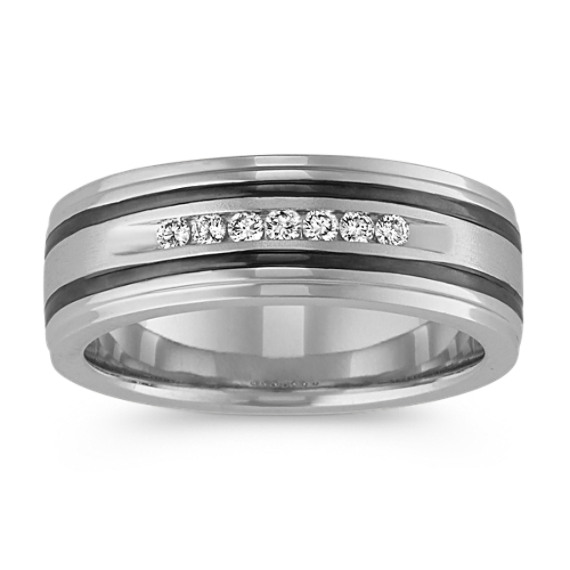 Channel-Set Round Diamond Ring with Black Rhodium Accent (7.5mm)