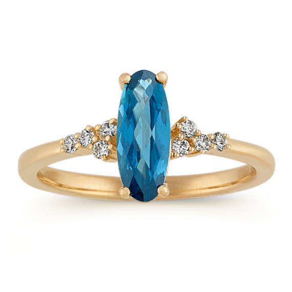 Checkerboard Cut London Blue Topaz & Diamond Ring