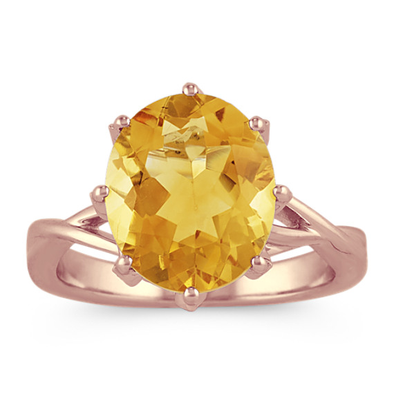 Citrine and Diamond Ring in 14k Rose Gold