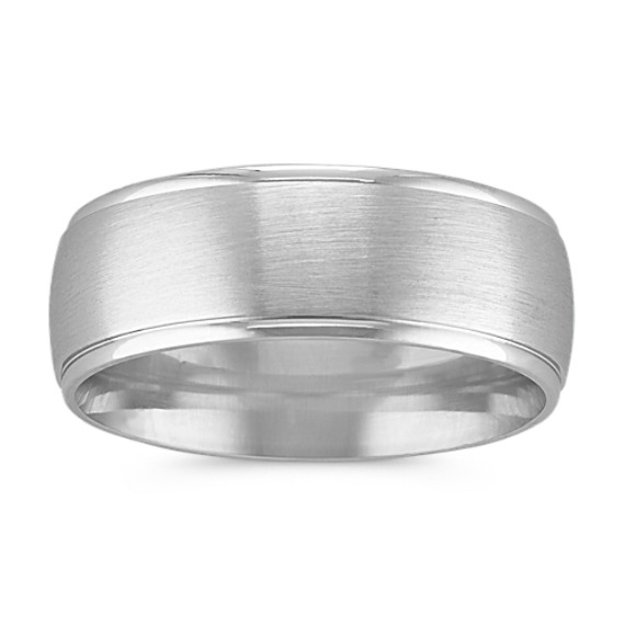 Classic 14k White Gold Comfort Fit Band with Satin Finish (8mm)