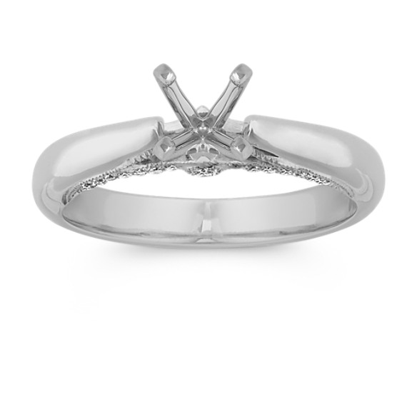 Classic Cathedral Round Diamond Platinum Engagement Ring