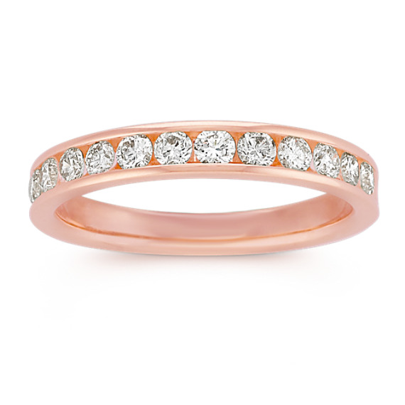 Classic Channel-Set Diamond Wedding Band in 14k Rose Gold