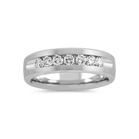 Classic Channel-Set Round Diamond 14k White Gold Band (6.5mm)