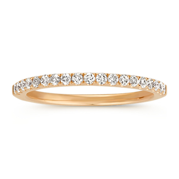Pavé-Set Diamond Wedding Band in 14k Yellow Gold