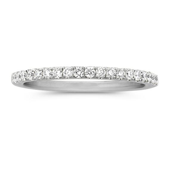 Classic Pave-Set Diamond Platinum Wedding Band
