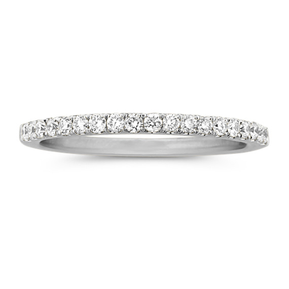 Classic Pave-Set Diamond Platinum Wedding Band