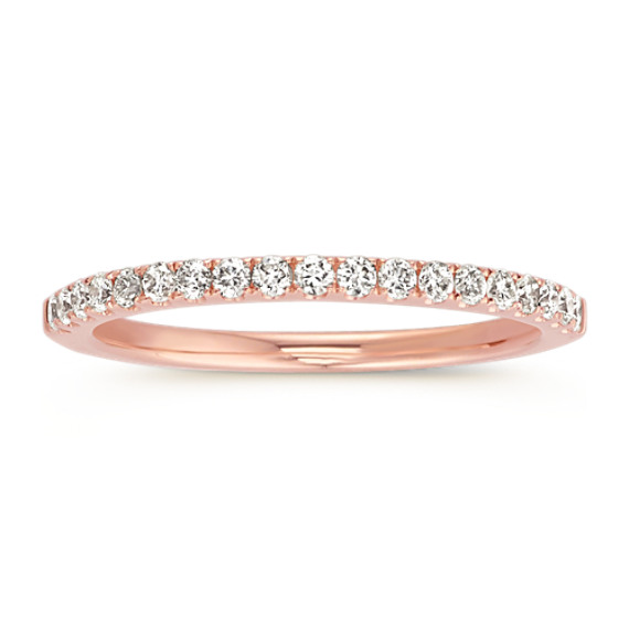 Classic Pave-Set Diamond Wedding Band in 14k Rose Gold (Sz 4)