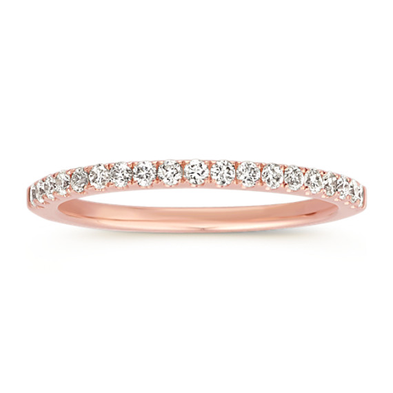 Classic Pave Set Diamond Wedding Band In 14k Rose Gold