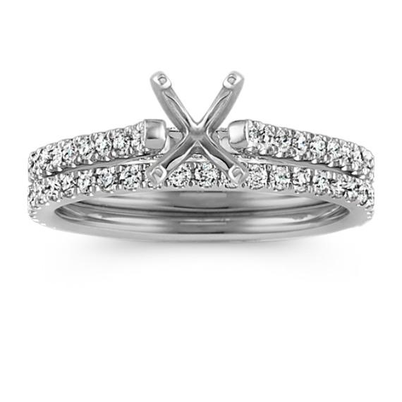 Classic Pave-Set Round Diamond Cathedral Platinum Wedding Set