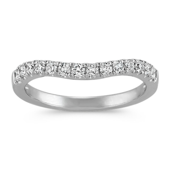 Classic Pave-Set Round Diamond Contour Wedding Band in Platinum