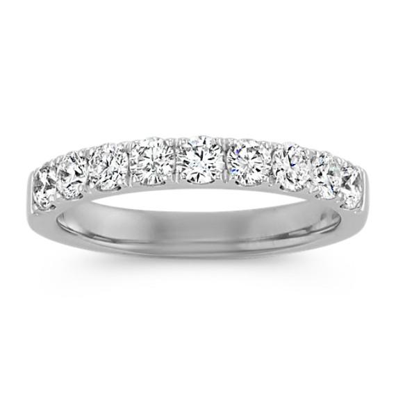 Classic Pave-Set Round Diamond Platinum Ring