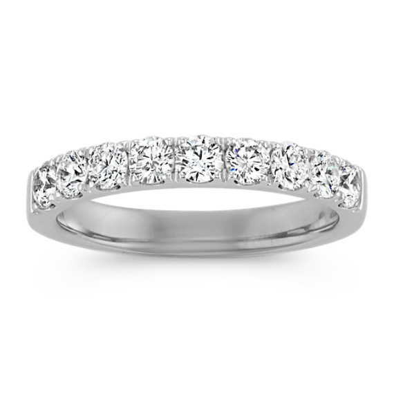 Classic Pave-Set Round Diamond Platinum Ring