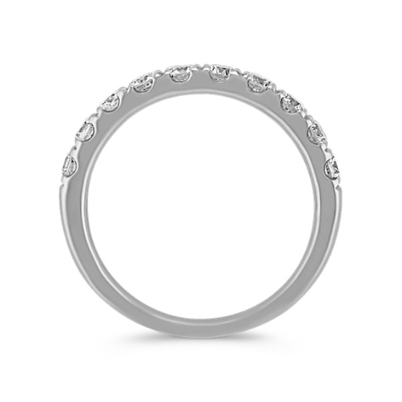Classic Platinum Pave-Set Round Diamond Wedding Band image