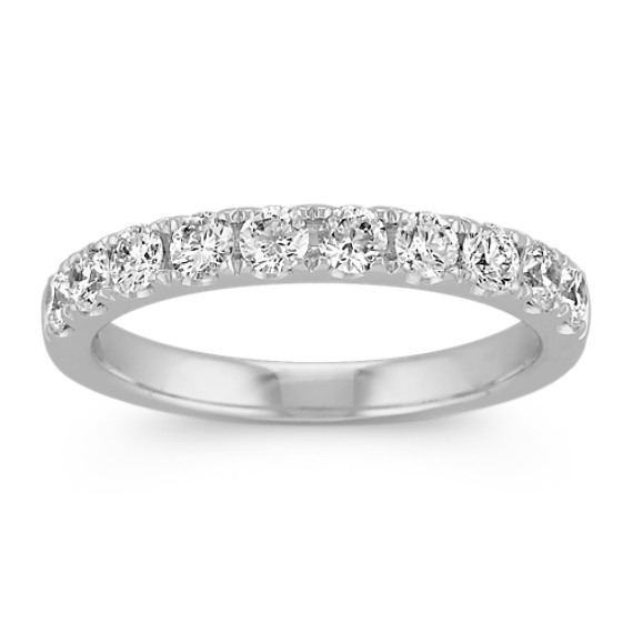 Classic Platinum Pave-Set Round Diamond Wedding Band