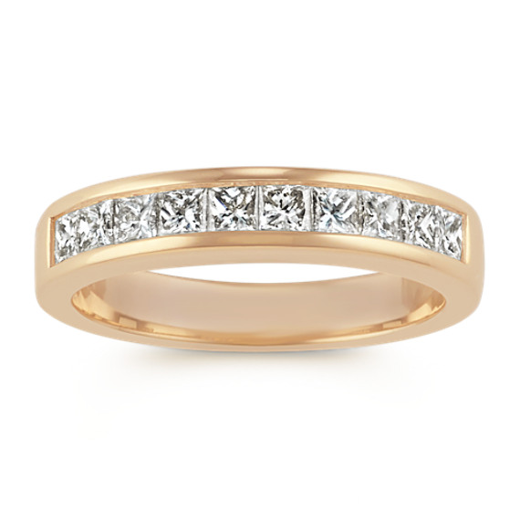 Classic Princess Cut Channel-Set Wedding Band in 14k Yellow Gold