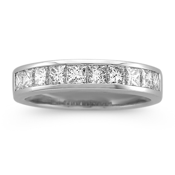 Classic Princess Cut Diamond Wedding Band in 14k White Gold