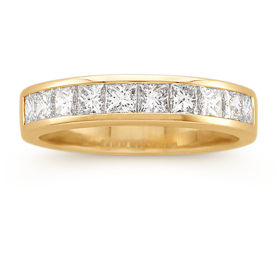 Classic Princess Cut Diamond Wedding Band in 14k Yellow Gold