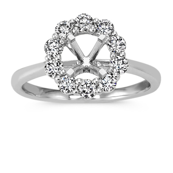 Classic Round Diamond Halo Engagement Ring in 14k White Gold