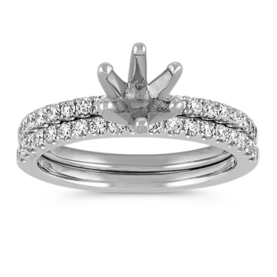 Classic Round Diamond Platinum Wedding Set with Pave-Setting