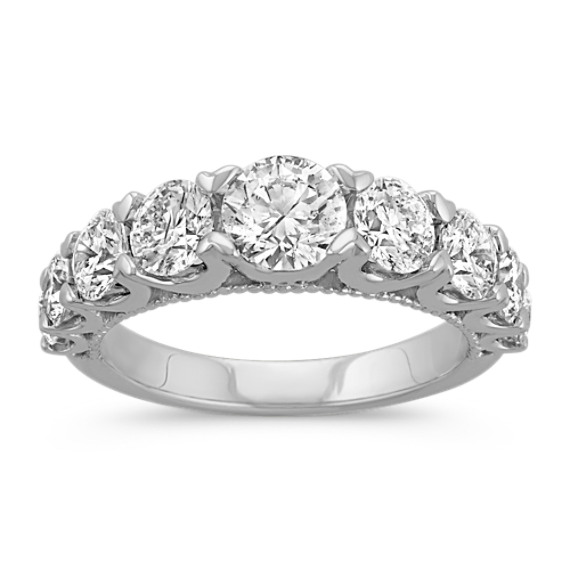 Classic Round Diamond Wedding Band in 14k White Gold