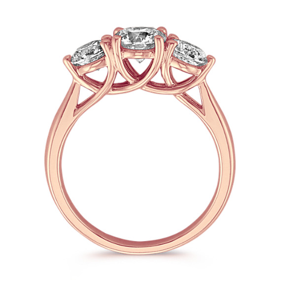 Classic Three-Stone Diamond Ring in 14k Rose Gold image
