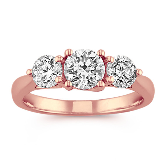 Classic Three-Stone Diamond Ring in 14k Rose Gold