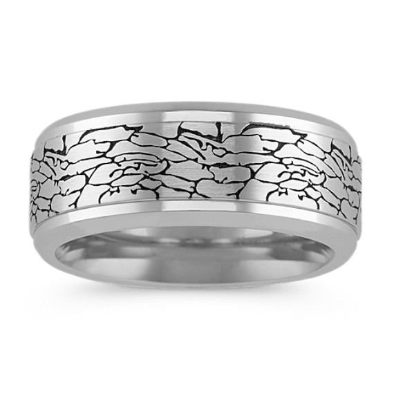 Cobalt Comfort Fit Ring with Cracked Texture (9mm)