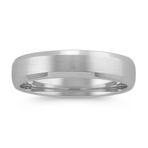 Comfort Fit Mens Ring in 14k White Gold (5mm)