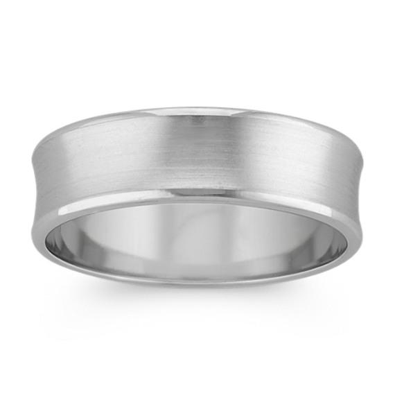 Concave Platinum Mens Comfort Fit Ring (6.5mm)