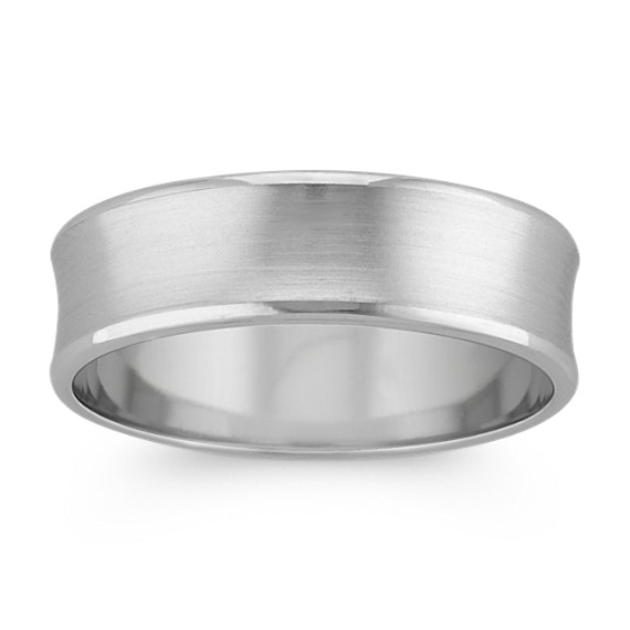 Concave Platinum Mens Comfort Fit Ring (6.5mm)