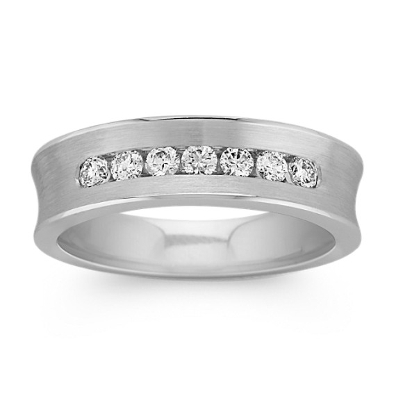 Concave Seven-Stone Diamond Mens Wedding Band with Channel-Setting