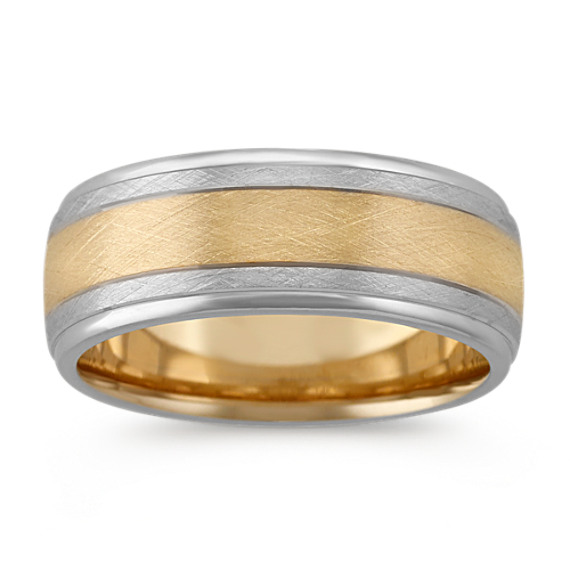 Contemporary 14k Two-Tone Gold Mens Band (8mm)