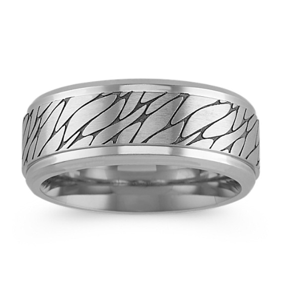 Contemporary Cobalt Comfort Fit Ring with Engraved Lines (9mm)