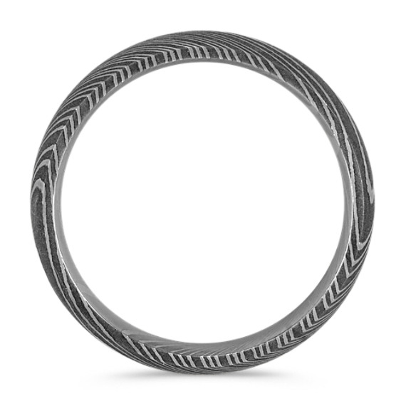 Contemporary Damascus Steel Mens Ring (6mm) image