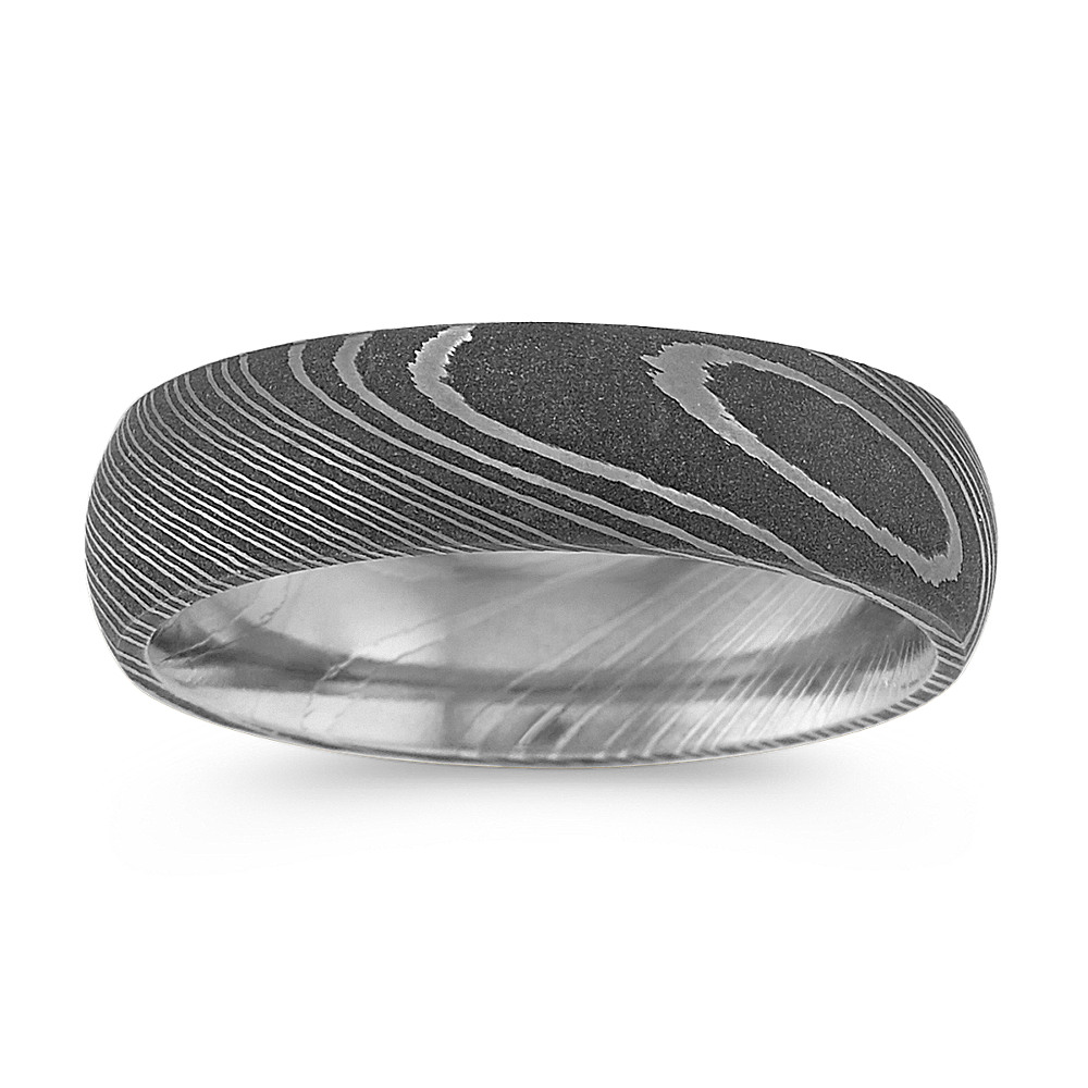 Contemporary Damascus Steel Mens Ring (6mm) | Shane Co.